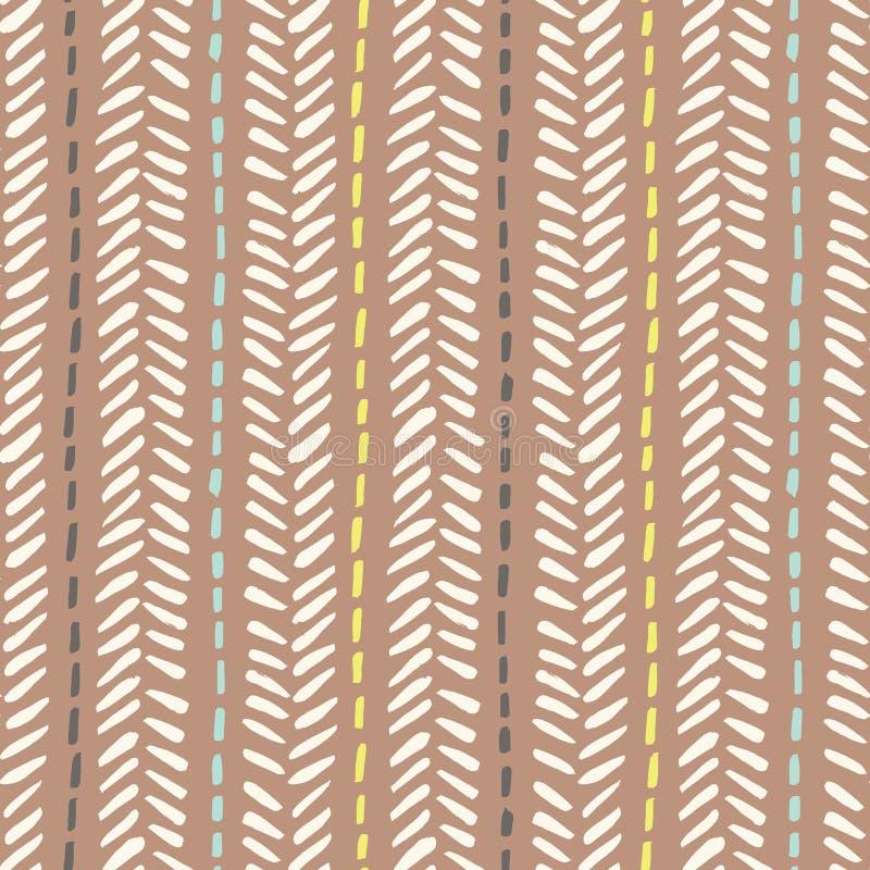 Handen drog stam- fiskbensmönstret syr på sömlös modell för brun bakgrundsvektor Ny geometrisk teckning vektor illustrationer