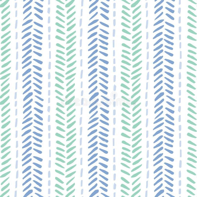 Handen drog stam- fiskbensmönstret syr på sömlös modell för vit bakgrundsvektor Ny abstrakt geometrisk teckning royaltyfri illustrationer