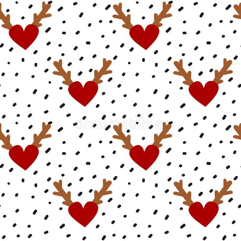 Handen drog svarta konfettier på enkel abstrakt sömlös vektor för vit bakgrund mönstrar illustrationen med röda hjärtor med horn  vektor illustrationer