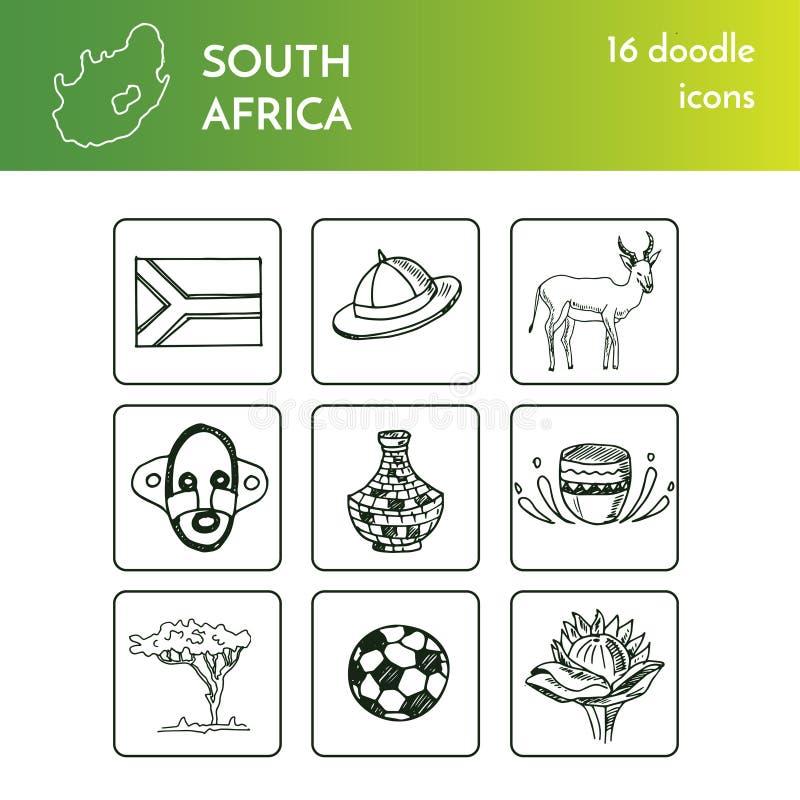 Handen drog Sydafrika loppuppsättningen med isolerade illustrationen för symboler vektorn på det vita bakgrundsklottret skissar stock illustrationer