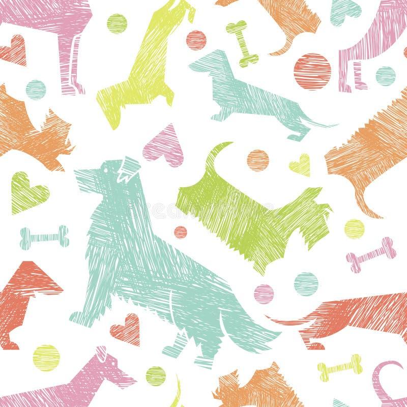 Handen drog texturerade hunden föder upp den sömlösa modellen för konturer stock illustrationer