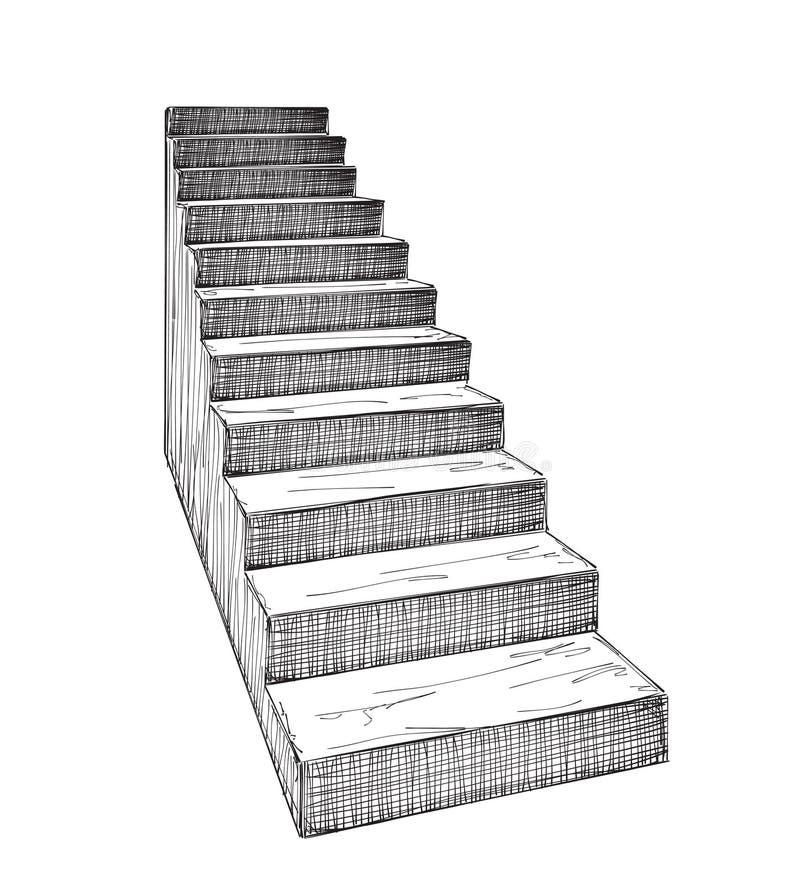 Handen drog trappuppgången skissar royaltyfri illustrationer
