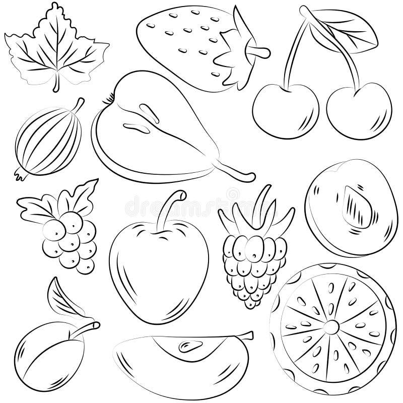 Handen drog uppsättningen av frukter skissar in stil arkivfoto