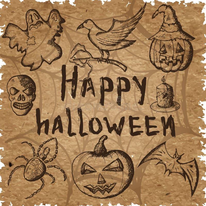 Handen drog uppsättningen av halloween attribut, brunt skissar på kraft papper vektor illustrationer