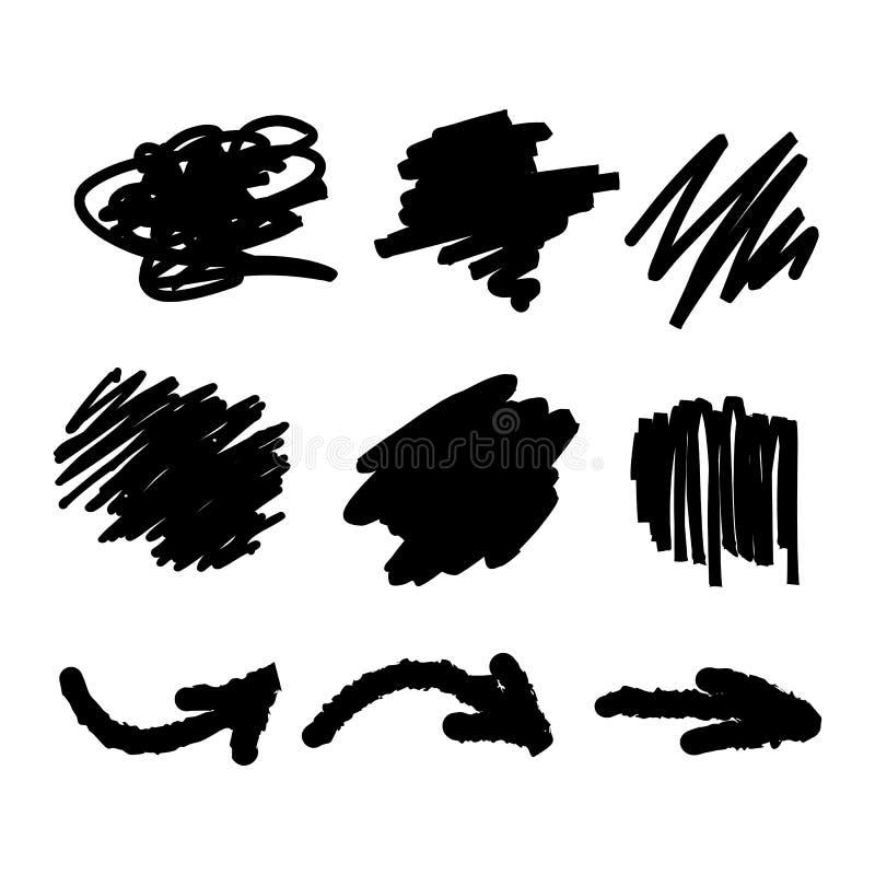 Handen drog uppsättningen av klottrar illustrationen för bakgrundstextur- och pilvektorn stock illustrationer