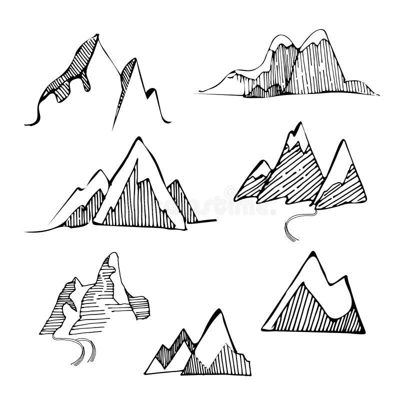 Handen drog uppsättningen av skissar berg Vektorillustrationen av olika berg och vaggar, isolerat på den vita bakgrunden vektor illustrationer