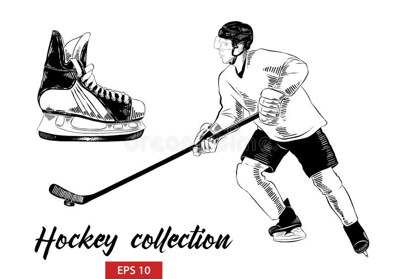 Handen drog uppsättningen av skissar av den isskridsko och hockeyspelaren med hockeypinnen i svart stock illustrationer