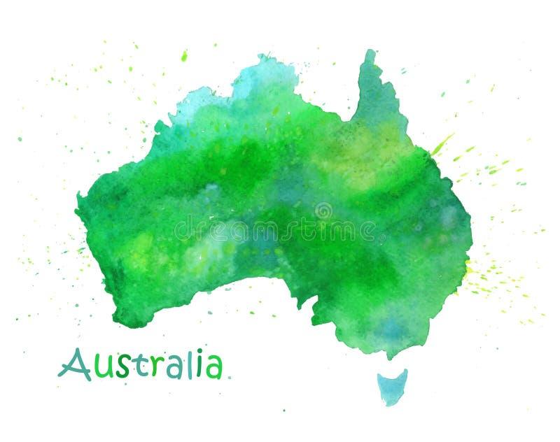 Handen drog vattenfärgöversikten av Australien isolerade på vit vektor illustrationer