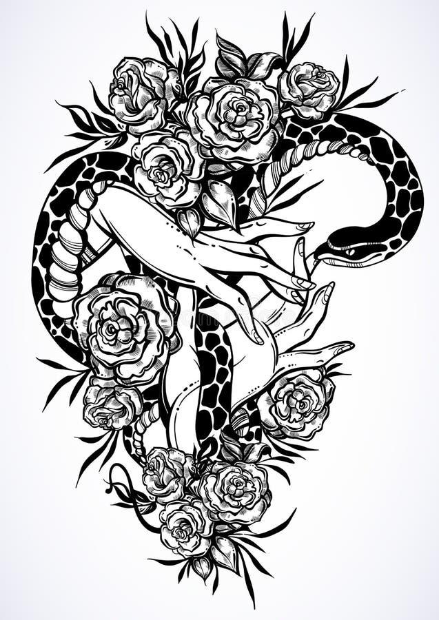 Handen drog vektorillustrationen med kvinna` s räcker att rymma en orm bland rosor Beautifully specificerat konstverk Begreppskon royaltyfri illustrationer