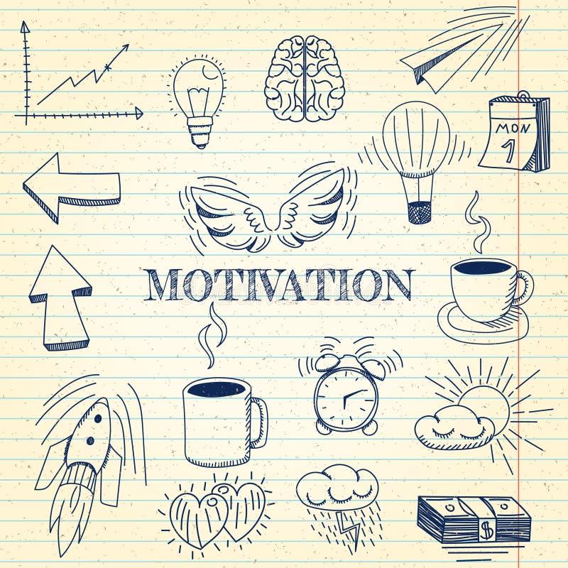 Handen drog vektorillustrationuppsättningen av motivationen och affären undertecknar, och symbolet klottrar beståndsdelar, anteck vektor illustrationer