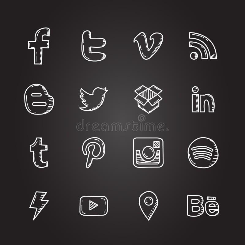 Handen drog vektorillustrationuppsättningen av socialt massmedia undertecknar symbolen och symbol stock illustrationer
