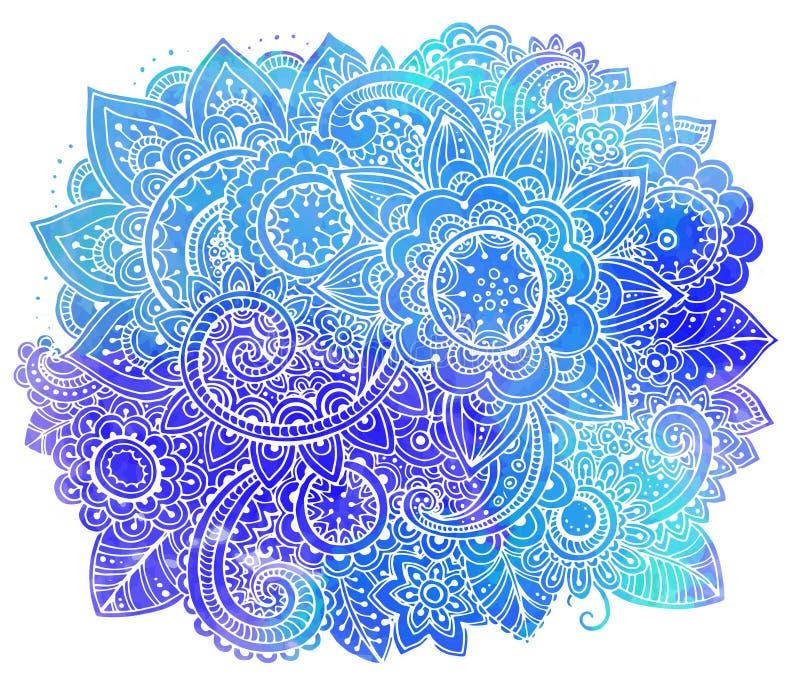 Handen drog vektorklottret blommar med vattenfärgtextur stock illustrationer