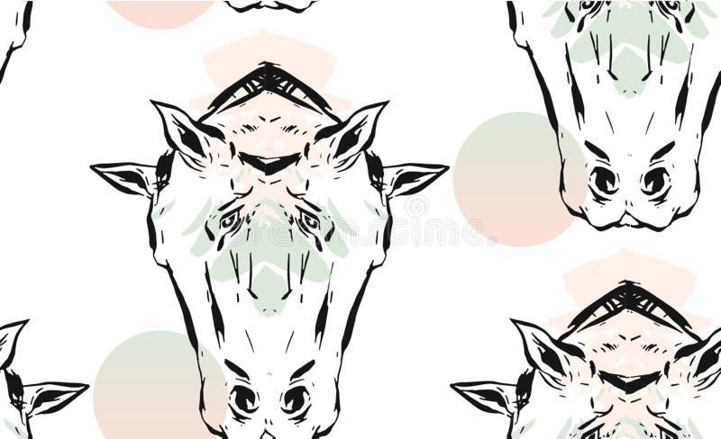 Handen drog vektorn fodrade grafiska hästar för abstrakt färgpulver avspeglar den sömlösa modellen för huvud som isoleras på vit  vektor illustrationer