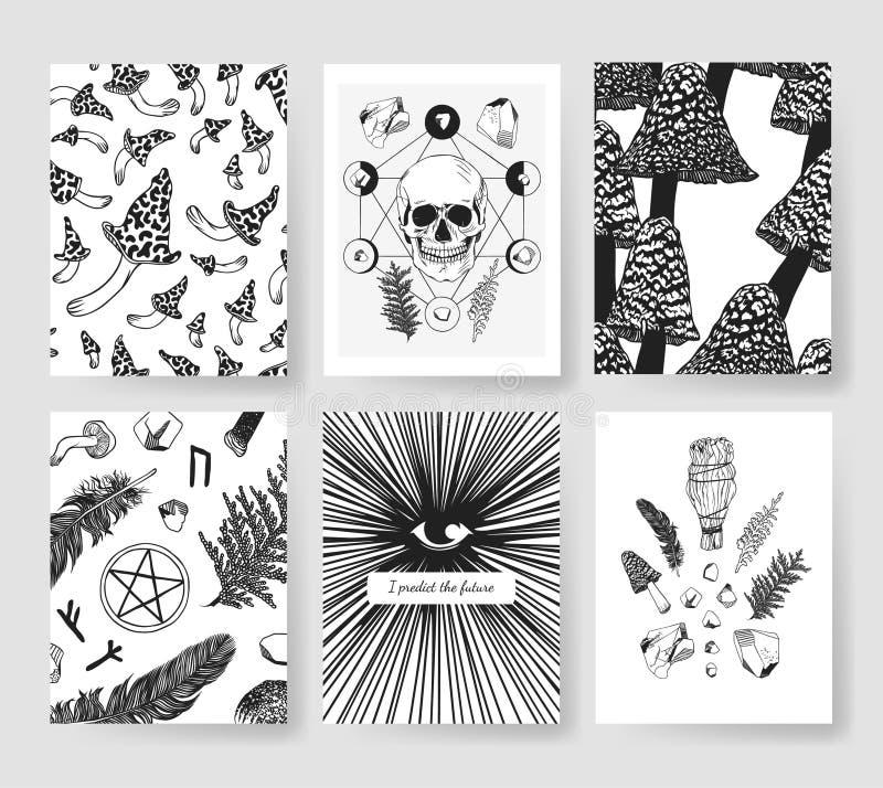 Handen drog vektorn mönstrar broschyrer Faktisk konstnärlig design med champinjoner vektor illustrationer