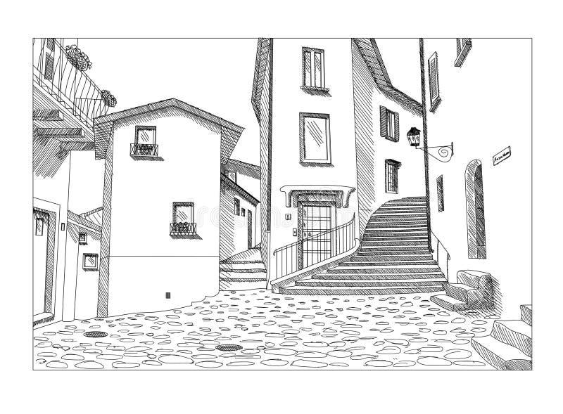 Handen drog vektorn skissar av den gamla europeiska stadsstadgatan royaltyfri illustrationer