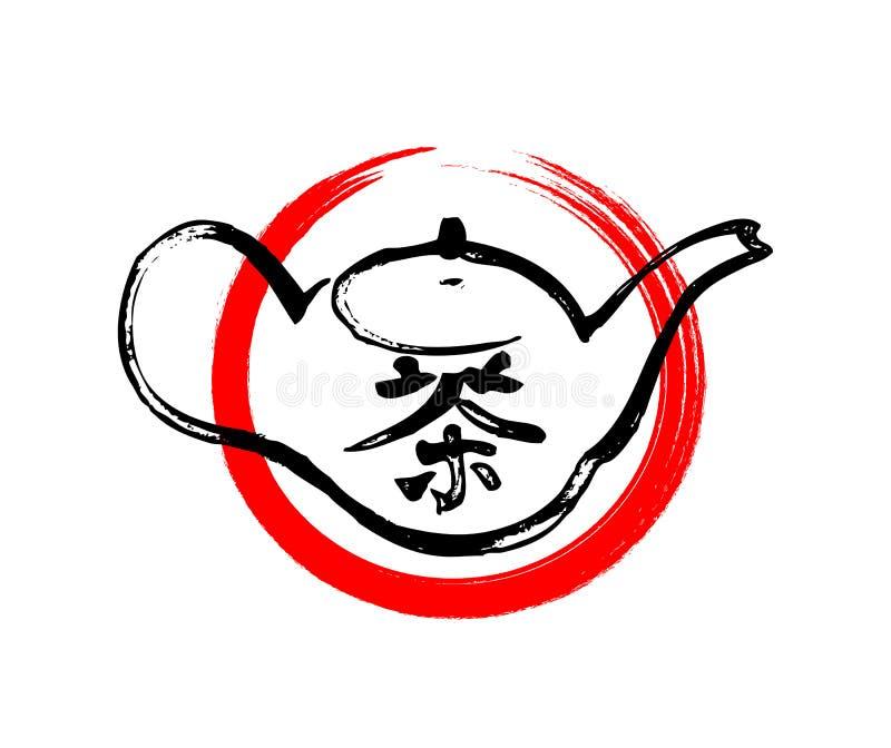 Handen drog vektorn skissar av den sunda koppen för grönt te med teblad vektor för koppminttea stock illustrationer