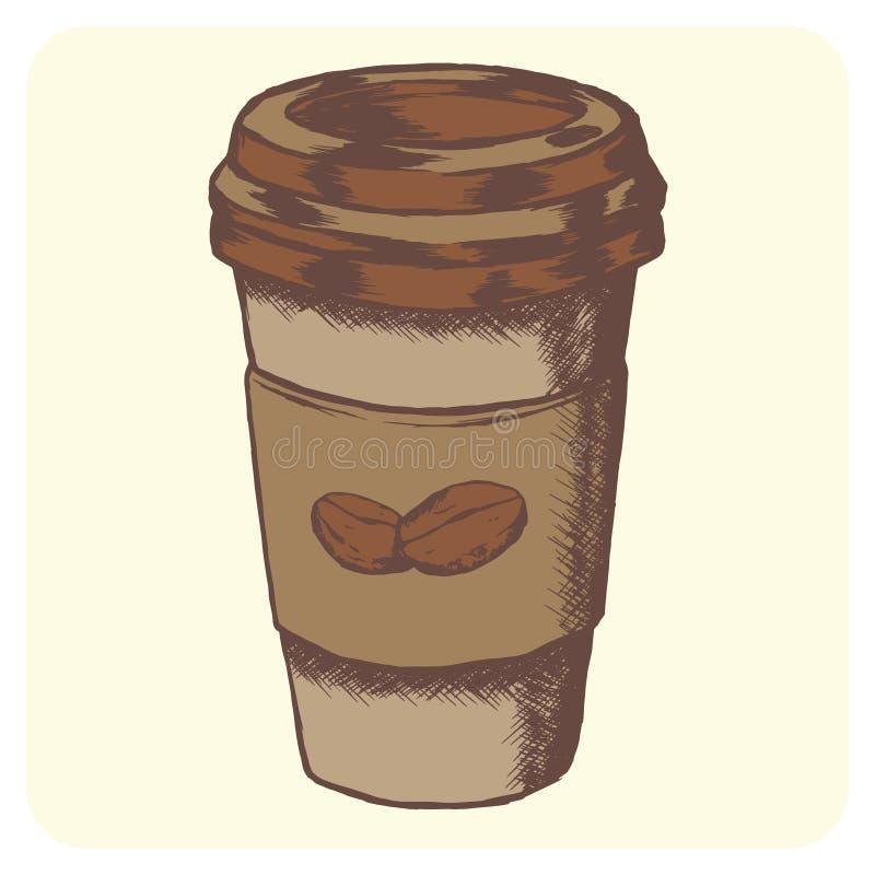 Handen drog vektorn skissar illustrationen - coffee shop arkivbilder