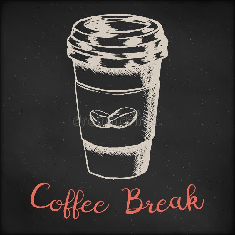Handen drog vektorn skissar illustrationen - coffee shop- eller kafémenyn, idérik design för affisch för tryck för dräkt för tapp royaltyfri foto