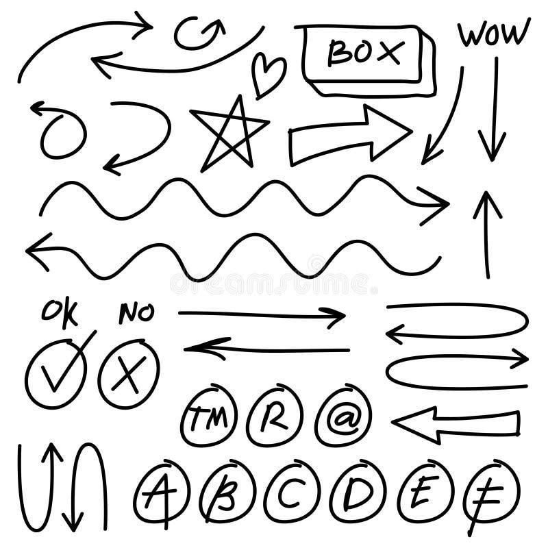 Handen drog vektorpilar ställde in på vit bakgrund Infographic designbeståndsdelar för klotter vektor illustrationer