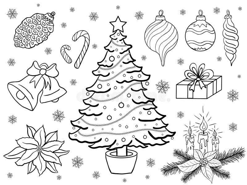 Handen drunknar julbeståndsdelar stock illustrationer