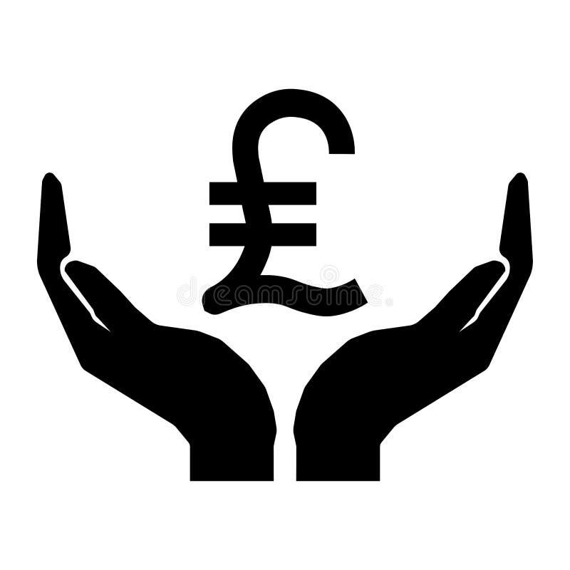 Handen en de LIREteken van TURKIJE van de geldmunt Neem het teken van het zorggeld eps tien stock illustratie