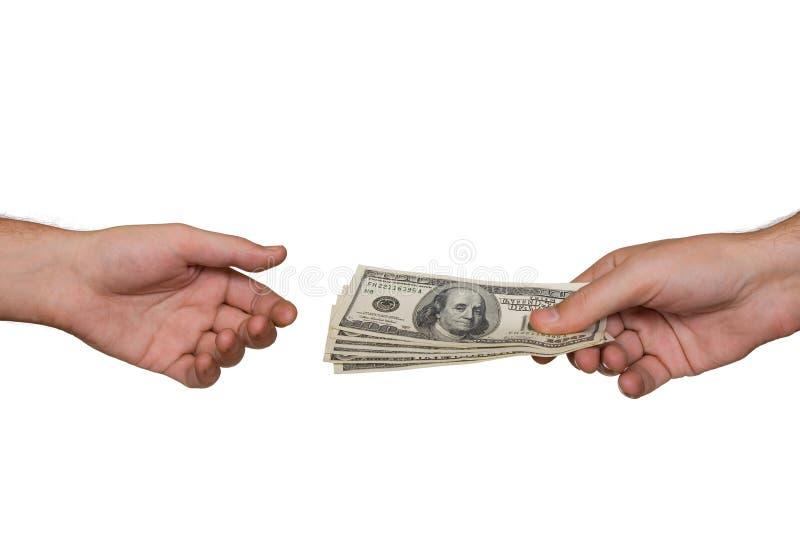 Handen en geld stock fotografie