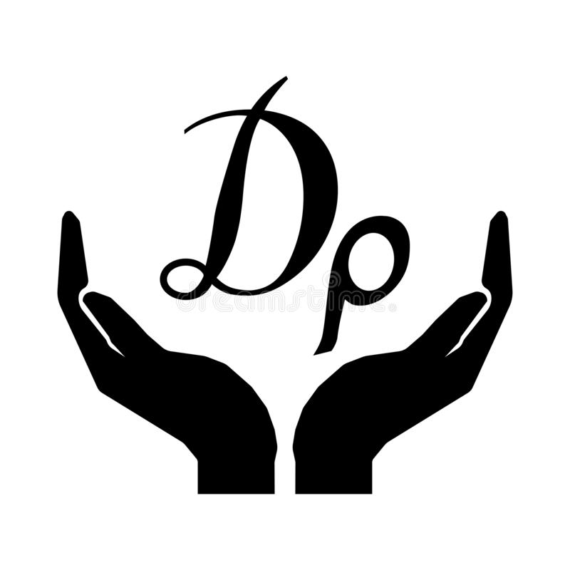Handen en GRIEKS de DRACHMEteken van de geldmunt Neem het teken eps tien van het zorggeld royalty-vrije illustratie