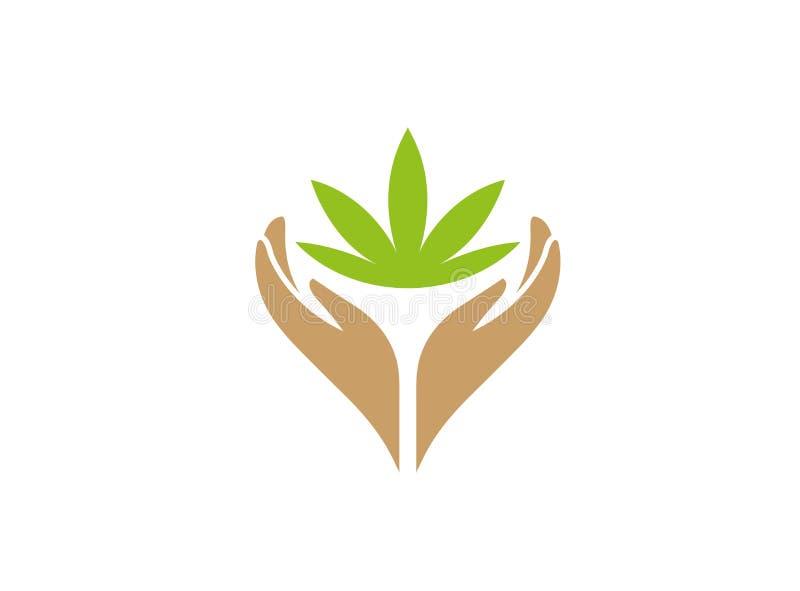 Handen en marihuanabladeren met installatiezorg voor embleemontwerp royalty-vrije illustratie