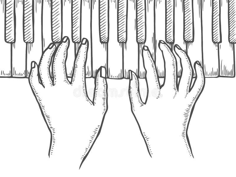 Handen en pianosleutels royalty-vrije illustratie