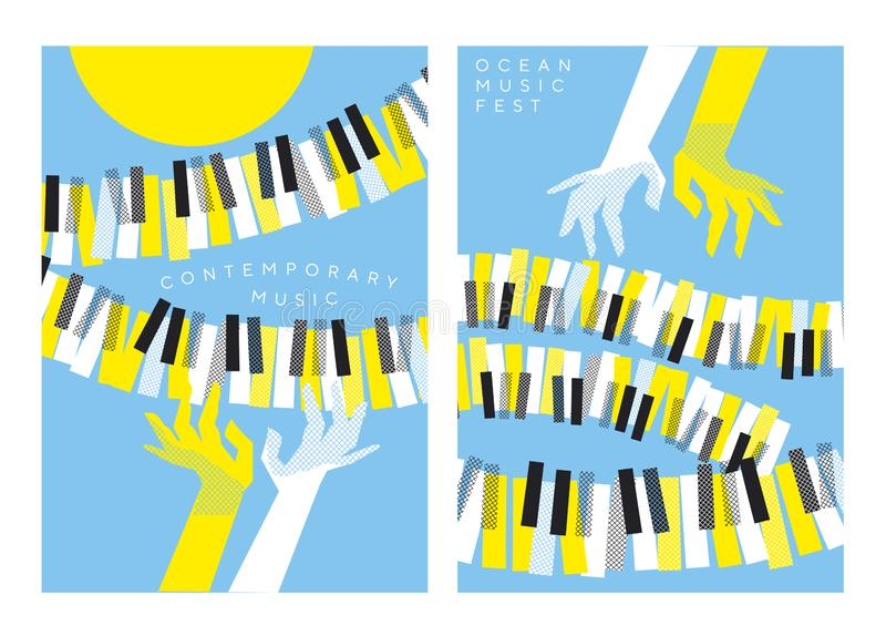 Handen en pianosleutels over blauwe hemel en gele zon vector illustratie