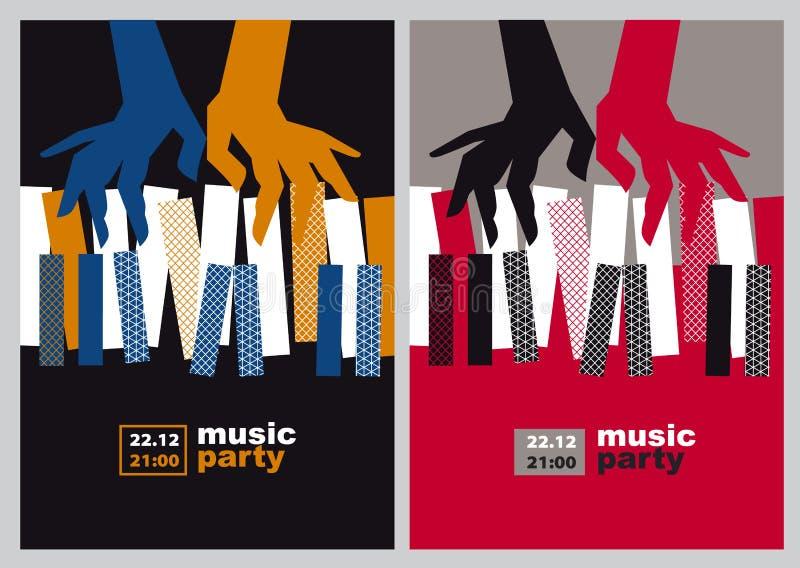Handen en van pianosleutels vectorillustratie vector illustratie
