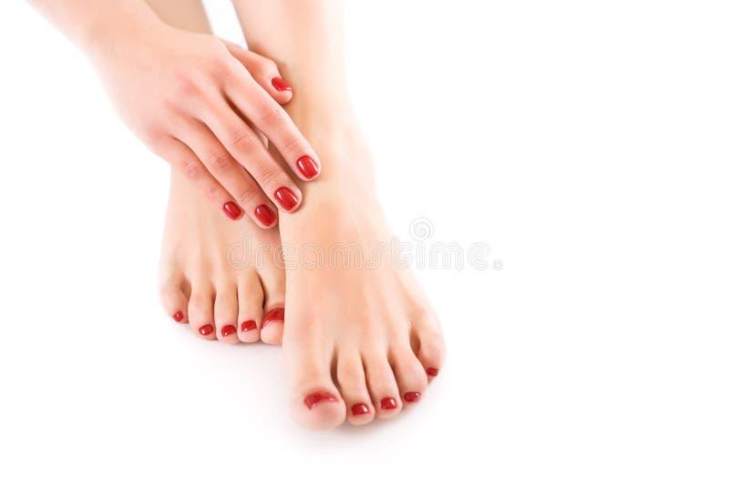 Handen en voeten op een wit close-up als achtergrond stock fotografie