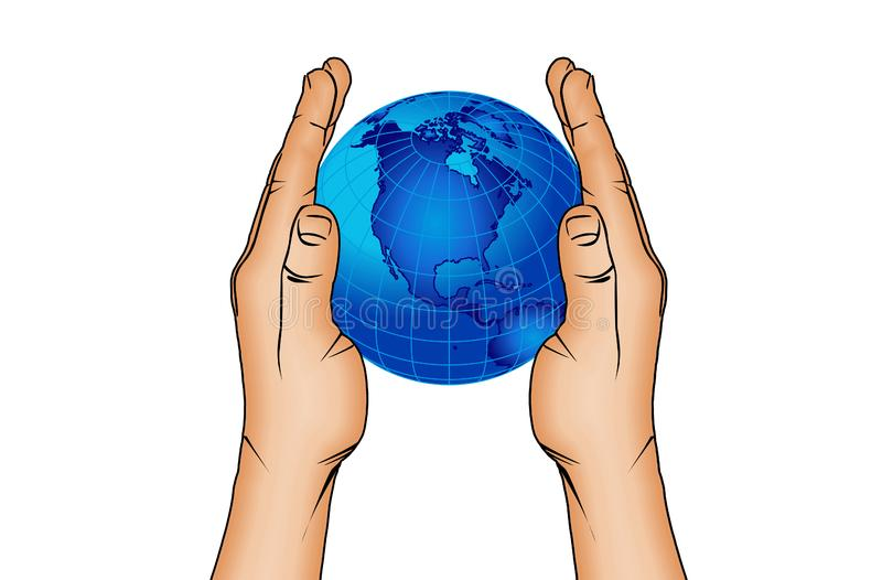 Handen en wereldbol 6 stock foto's
