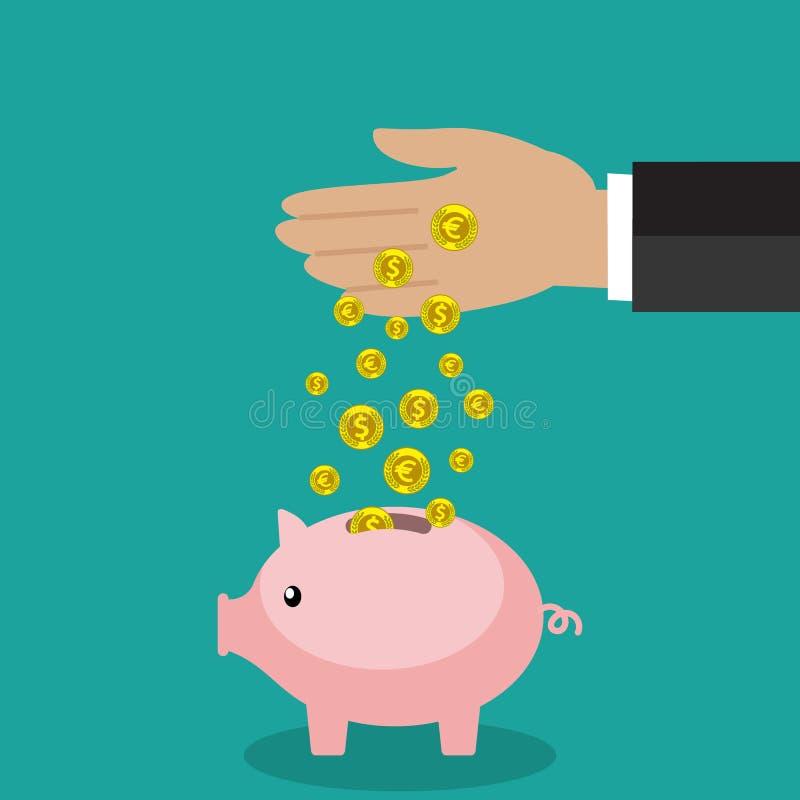 Handen för affärsmannen satte det guld- myntet i rosa piggy stock illustrationer