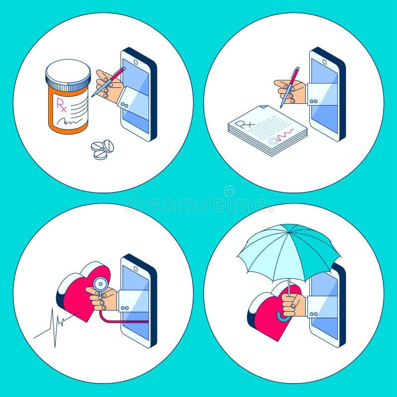 Handen för doktors` s och ilar telefonen Illu för Telemedicineöversiktsbegrepp stock illustrationer