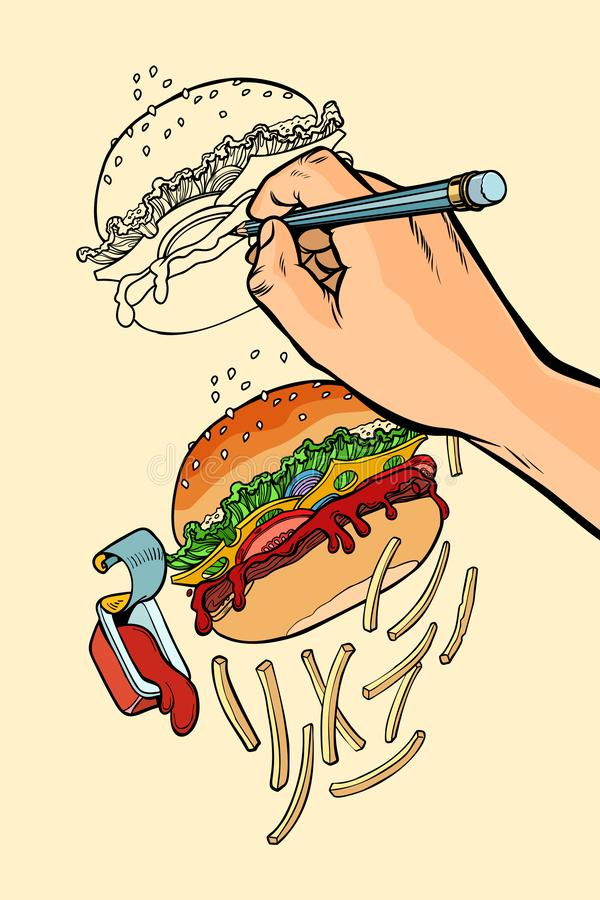Handen för konstnär s drar snabba en hamburgare, pommes frites och ketchup vektor illustrationer