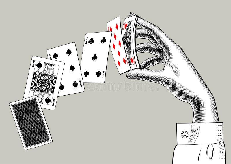 Handen för kvinna` s med att spela kort fläktar Stiliserad tappninggravyr vektor illustrationer