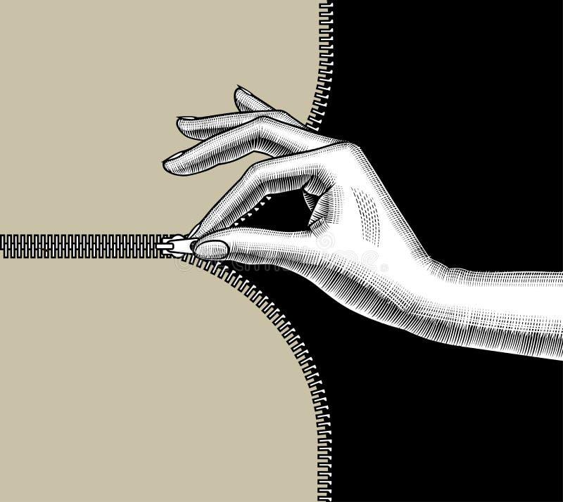 Handen för kvinna` som s dras igen blixtlåset på upp med razzia, fingrar glidbanahållaren stock illustrationer