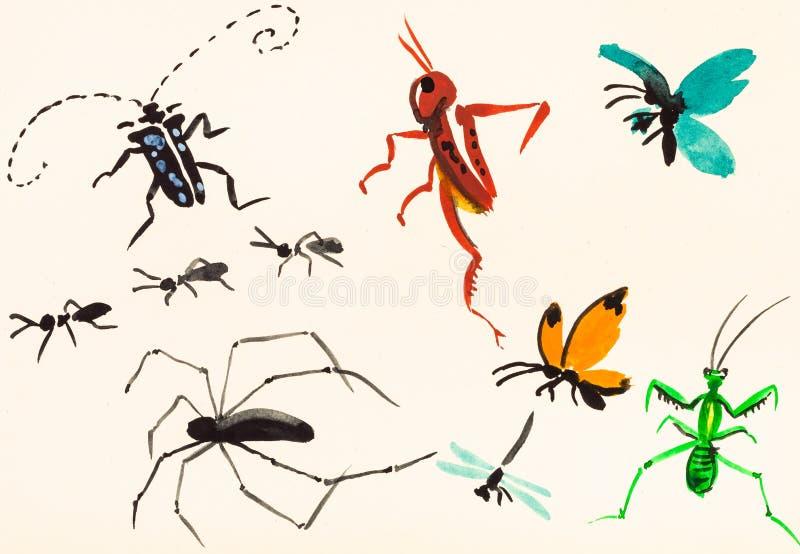 Handen för många kryp som målades på kräm, färgade papper stock illustrationer