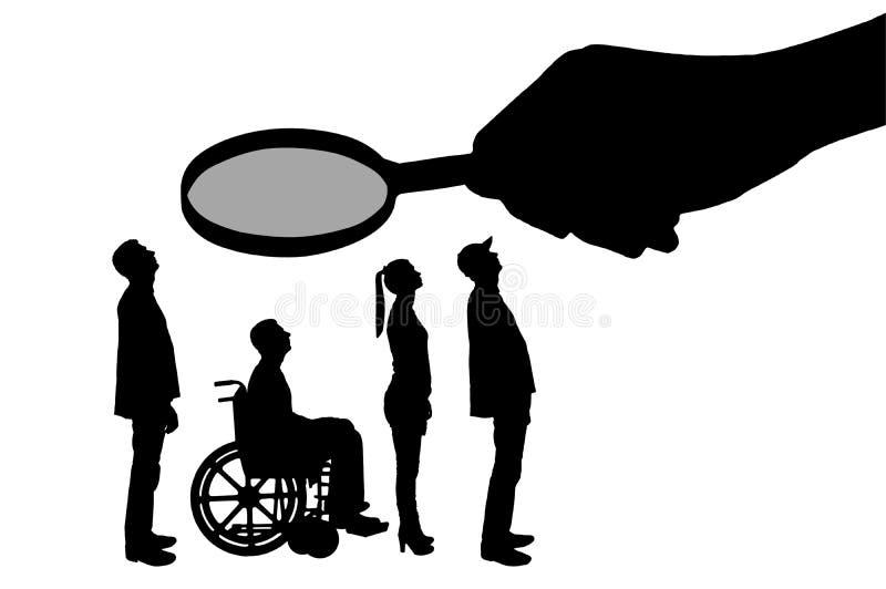 Handen för ` s för vektorkonturarbetsgivaren ser till och med förstoringsglaset till ett ogiltigt i en rullstol som väntar på en  stock illustrationer