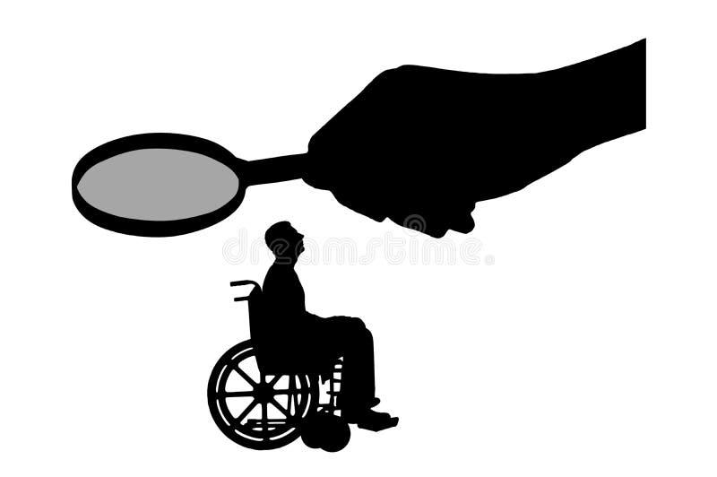 Handen för ` s för vektorkonturarbetsgivaren ser till och med förstoringsglaset till ett ogiltigt i en rullstol som väntar på en  vektor illustrationer