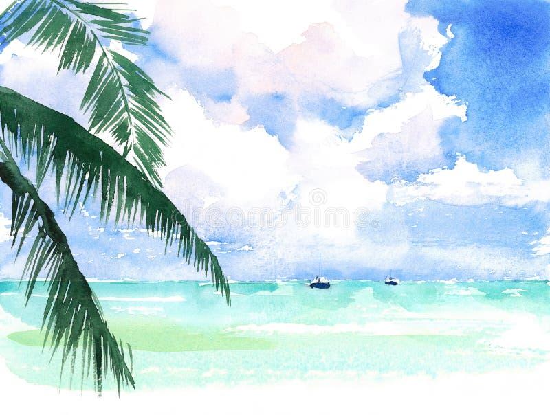 Handen för stranden för havet för tropisk karibisk exotisk kustSeascape för vattenfärgen målade den sceniska illustrationen royaltyfri illustrationer
