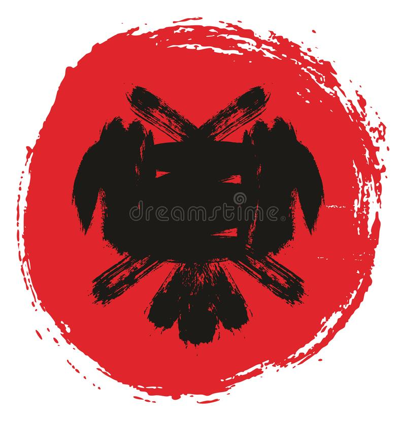 Handen för vektorn för den Albanien cirkelflaggan målade med den rundade borsten royaltyfri illustrationer
