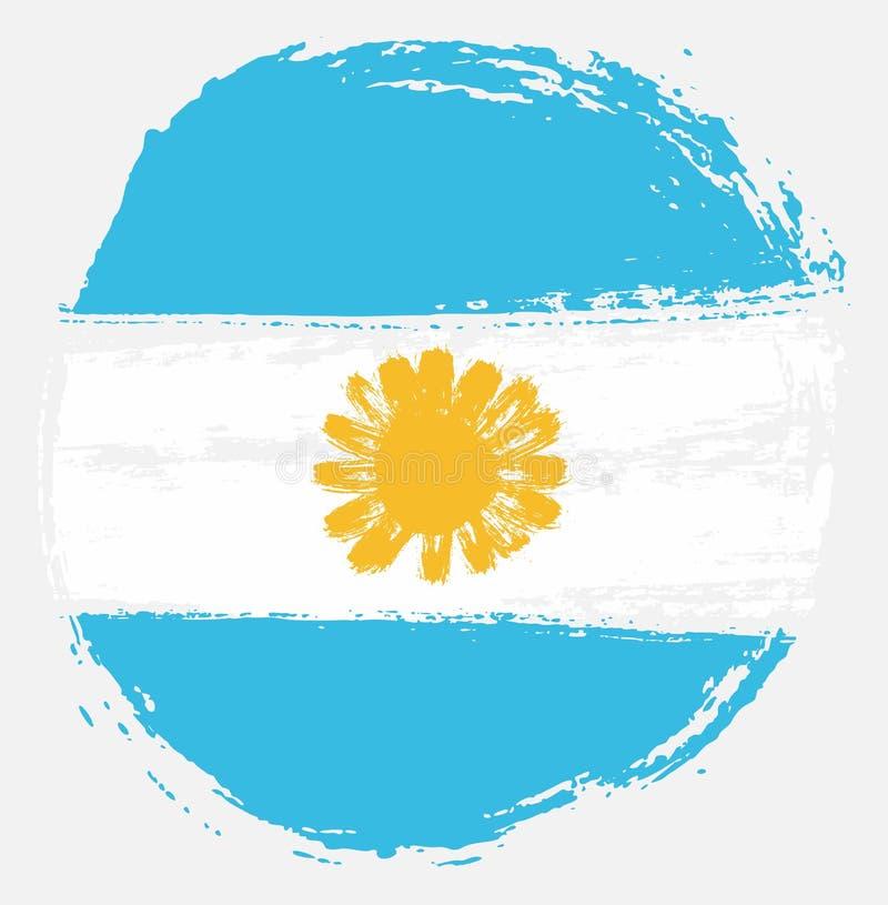 Handen för vektorn för den Argentina cirkelflaggan målade med den rundade borsten royaltyfri illustrationer