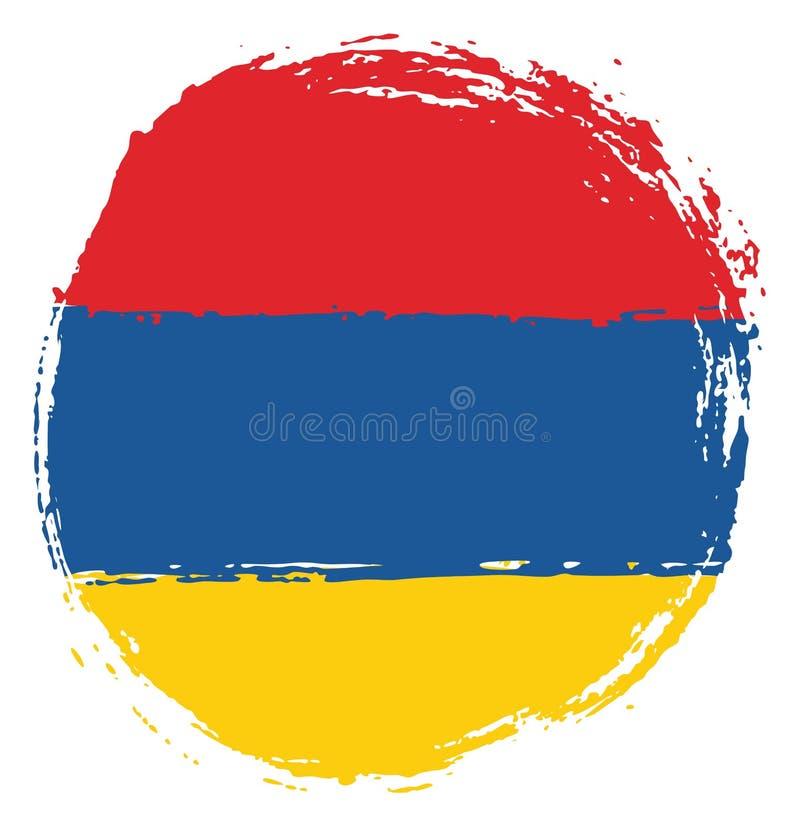 Handen för vektorn för den Armenien cirkelflaggan målade med den rundade borsten stock illustrationer