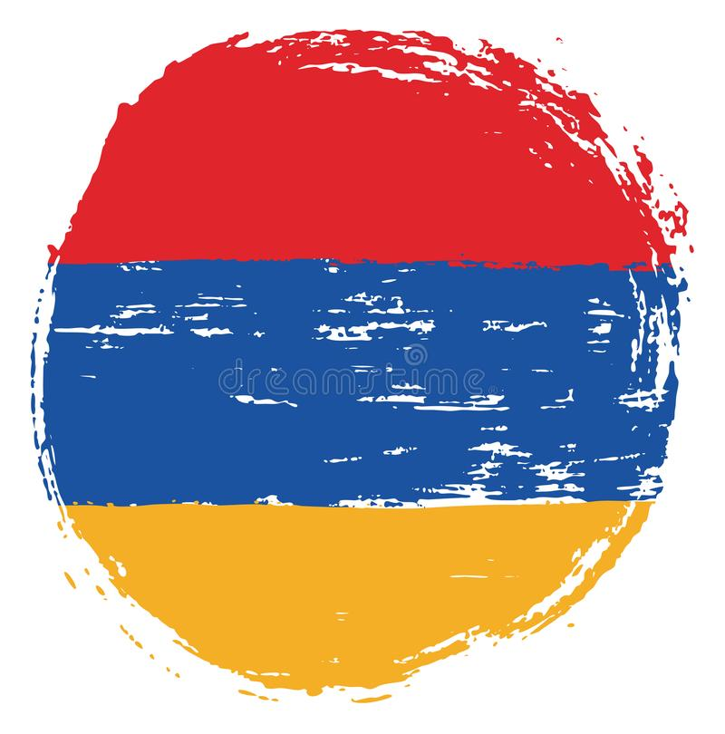 Handen för vektorn för den Armenien cirkelflaggan målade med den rundade borsten royaltyfri illustrationer