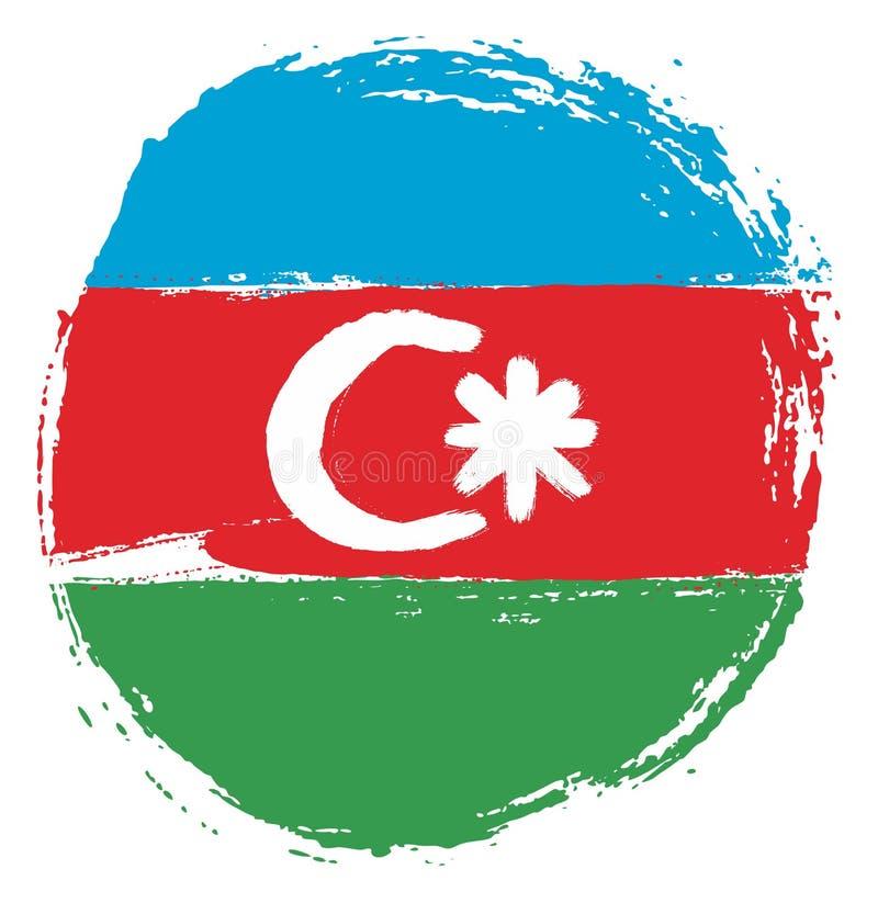 Handen för vektorn för den Azerbajdzjan cirkelflaggan målade med den rundade borsten royaltyfri illustrationer