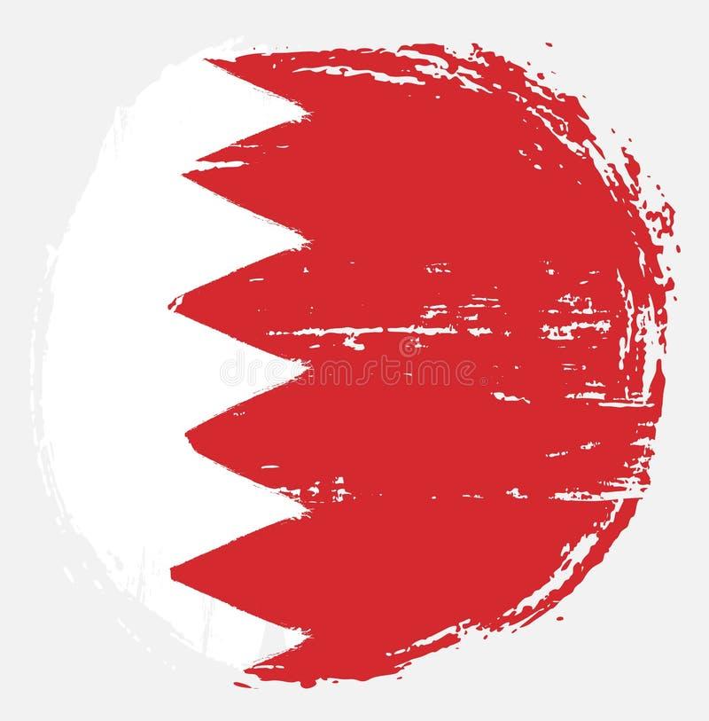 Handen för vektorn för den Bahrain cirkelflaggan målade med den rundade borsten stock illustrationer