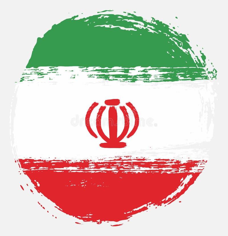 Handen för vektorn för den Iran cirkelflaggan målade med den rundade borsten royaltyfri illustrationer