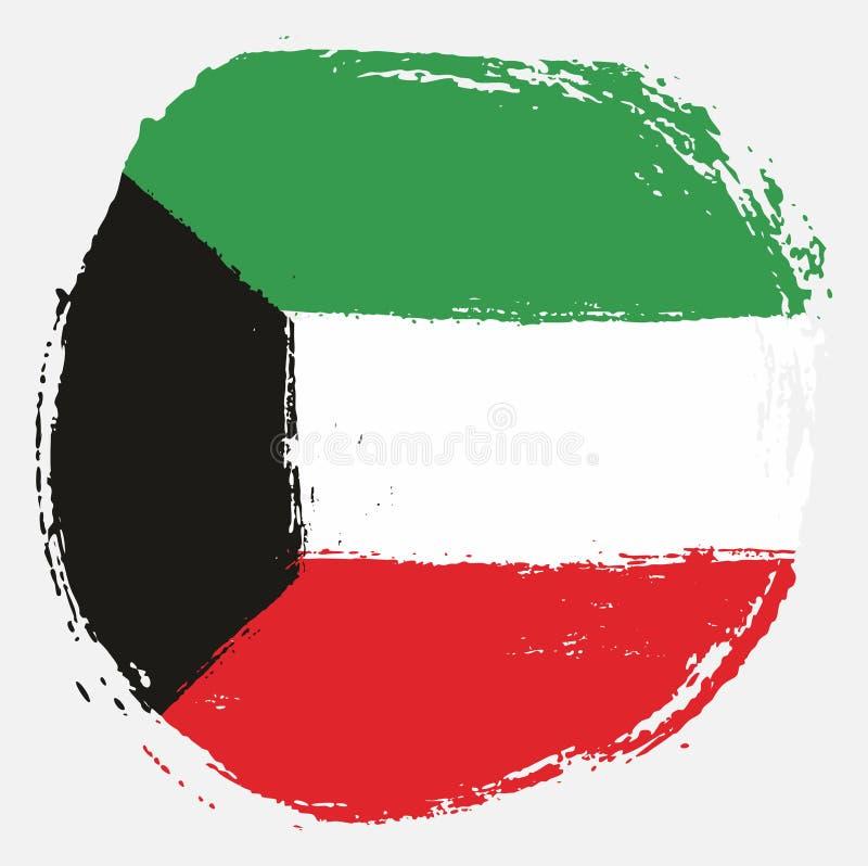 Handen för vektorn för den Kuwait cirkelflaggan målade med den rundade borsten royaltyfri illustrationer